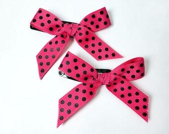 Pink with Polka Dots Ribbon Bow Barrettes