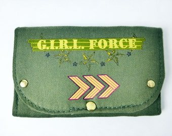 Green Military Operation Style Tri-Fold Women's Wallet