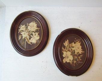 ON SALE SALE Pair Vintage Turner Floral Print - Oval Frames - Burgandy - Magnolia Flower Prints
