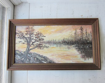 Vintage Framed Oil Painting - Sunset Landscape - 15 x 27 - Peach Orange