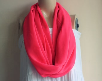 Neon Pink Infinity Scarf -Tube Scarf-Extra Long