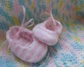 Pink and White Super Soft Minky Fabric Baby Booties with ribbon ties in Size 0 to 3 months OR 3 to 6 months