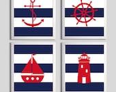 Nautical Nursery Art , Navy Beach Nursery Art , Red Navy Stripes Coastal Baby Art , Sailboat Anchor Lighthouse Wall Art Nursery Boy