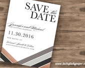 Rose Gold and Grey Calligraphy and Herringbone Shimmer & Shine Save the Date card by Luckyladypaper - CUSTOM CARD ORDER