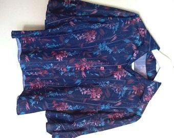 Vintage 1970's pink and blue floral v neck blouse Vintage Clothing by VintageTwists