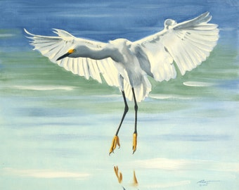 Snowy Egret 11 x 17 print (image 10.5 x 12.75) personally signed by artist RUSTY RUST / E-110-P