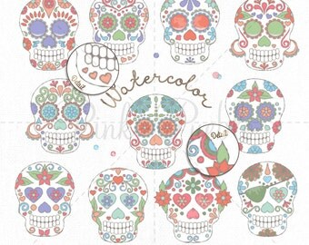 Watercolor Day of the Dead Skull Clipart Clip Art, Watercolor Sugar Skulls Clipart Clip Art Vectors - Commercial and Personal Use