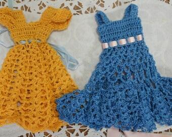 Sweet Vintage Crochet Doll Dresses Barbie Lot of 2
