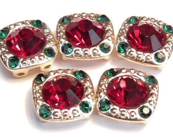 Five 2 Hole Slider Beads 2 hole Spacer Beads 8mm Siam Red & 2mm Emerald Green Rhinestones Christmas Holiday Square Rhinestone Beads