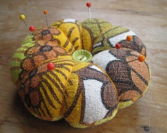 petal pincushions, handmade, vintage fabrics, proceeds to charity