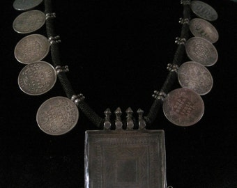 Vintage Tribal Indian Silver Amulet Necklace with Silver Rupee Coin from Rajasthan