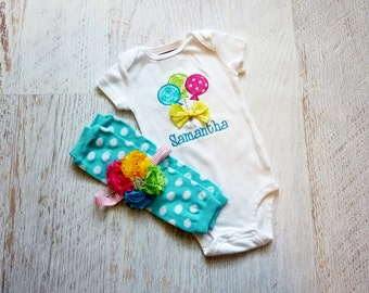 Personalized Lollipop Bodysuit with Matching Leg Warmers, and Floral Headband