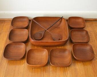 Danish Modern Teak Salad Bowl Set with Serving Utensils