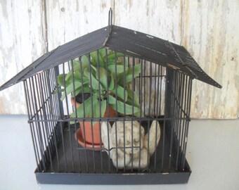 Vintage Wire Birdcage, Metal Bird Cage, Black Birdcage, Birdhouse