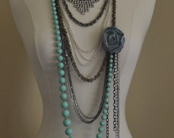 Rhinestone and Chains Statement Necklace