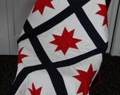 Patriotic Star Lap Quilt, Hand Quilted