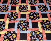 Floral Lap Quilt, Flower Girl Quilt, large lap, twin or double bed cover