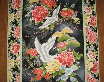 Asian Wall Hanging, Cranes,  Floral, quilted,  fabric from RedRooster