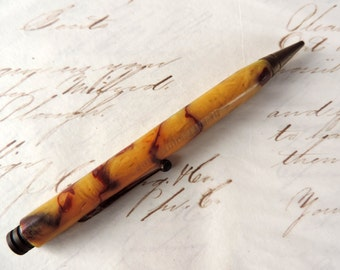 Antique Mechanical Pencil Brass and Celluloid Marbled Design with Brass Parts Office Supply