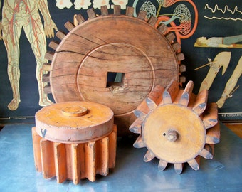 1940's Wooden Foundry Gear Molds - Industrial