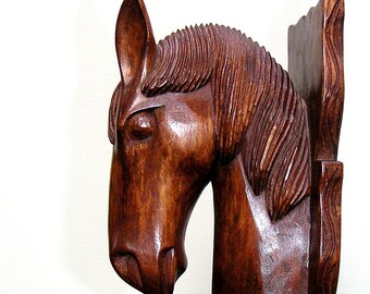 Vintage Hand Carved Wood Horse Head Bookend