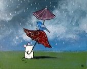 Mouse and Bird Kids Wall Art Umbrella Stormy Day Nursery Decor Childrens Whimsical Painting