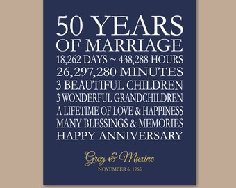 50th Anniversary Gifts, Golden Anniversary, 50th Wedding Anniversary, Personalized Anniversary Gift, Anniversary Gift From Kids, 8x10 Print
