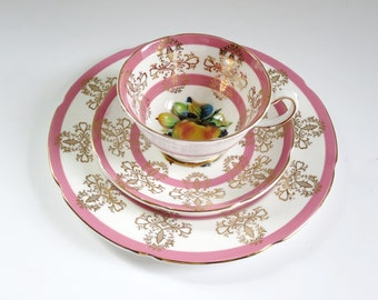 Vintage Pink  Tea Cup and Saucer Set, Pink and Gold Scroll Teacup and Saucer Trio, English Bone China Cup and Saucer by Royal Grafton