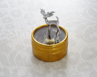 Silver Three Quarter Inch Miniature Reindeer, Silver Diorama Dollhouse Deer, 5 Christmas Miniature Reindeer, Xmas Village Diorama Dollhouse