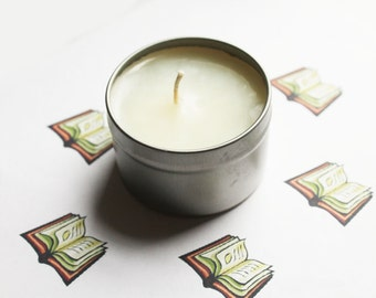 Library Scented Candle - Vegan Candle - Homemade Candles - Natural Candles - Tin Candle - Container Candle - Holiday