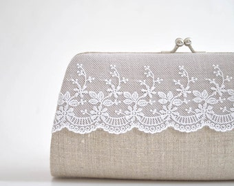 LINEN Lace clutch, wedding clutch, Bridal clutch, Bridesmaids clutch