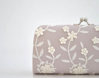 Pale Mauve - Small Lacely Clutch - Wedding clutch- PETITE cocktail clutch - Shabby chic