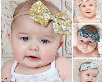 Newborn Headband SET, Baby headbands, skinny nylon headband, Big Bow headband,Baby girl Headband, Baby hair bows,Infant headband, small bows