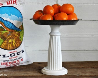 Farmhouse Enamelware Pedestal Stand - Repurposed Pie Plate and Antique Bed Post - Table Centerpiece or Wedding Decor