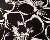 Vintage Black and White Floral Silk Georgette Fabric- 2  1/2 yard piece.