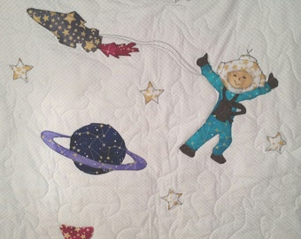 Personalized Quilt,  Outer Space, Baby Bedding, Hot Air Balloon, Crib Bedding, Baby Quilt, Toddler Bedding, Quilt, Boy or Girl
