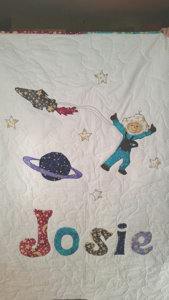 Personalized quilt outer space baby bedding hot air for Outer space quilt