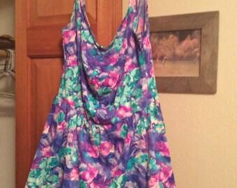 bathing suit swim dress by Sandcastle floral 1pc sz18/Attached panty vtg 60s