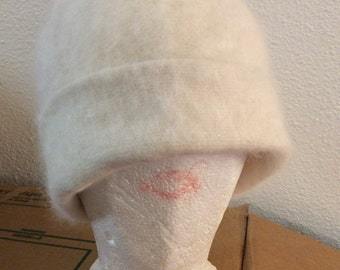 Angora hat soft adjustable/Rare 70% angora!/winter/warm covers ears/hard to find