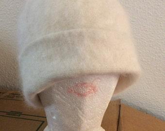 Angora hat soft adjustable/Rare 70% angora!/winter/warm covers ears/hard to find