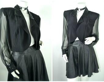 80s sequin sheer sleeves blazer tuxedo crop jacket