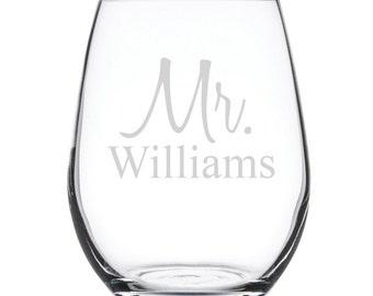 Personalized Stemless White Wine Glass-17 oz.-7891 Mr. Personalized