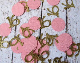 Number Confetti - Sweet 16 Confetti - Glitter Confetti - Party Decor - Number 16 Confetti - Age Confetti - Pink and Gold Decor