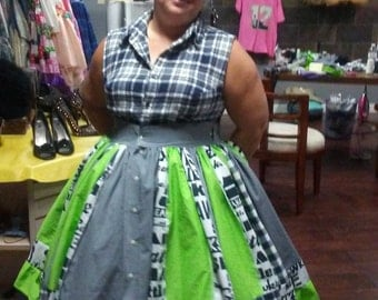 Custom made to order patchwork Seahawks Dress