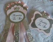 Mommy to Be SET, Pink, Silver, Princess, Corsage Pin, Baby Shower, Maternity sash flower