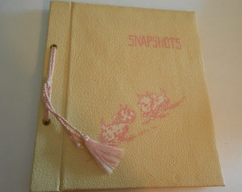 Sale...vintage baby photo album book Scotties Westies pink baby girl