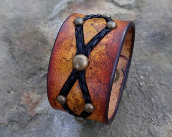 Horse Hair and Leather Cuff with Horse Hair Inlay - Leather Horsehair Bracelet