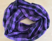 FLANNEL infinity scarf - purple and black logger plaid