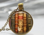 ON SALE Book Necklace Old Book Spines Librarian Jewelry Art Pendant in Bronze or Silver with Link Chain Included
