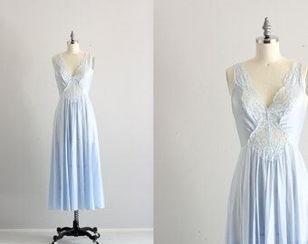 Something Blue Lingerie . 50s 60s Nightgown . Vintage Slip Night Gown